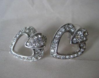 Heart Clear Silver Rhinestone Earrings Pierced Post Vintage Swarovski
