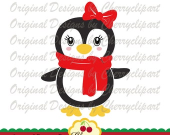 Cute  penguin with bow SVG DXF, Winter animal Silhouette Cut Files, Cricut Cut Files CHSVG51- Personal and Commercial Use