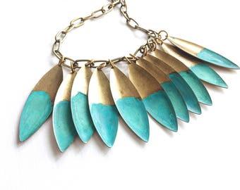 Ocean Tide Verdigris Leaf Necklace