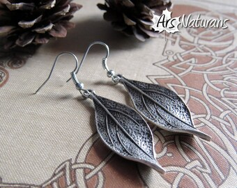 Willow Leaves Silver Botanical Earrings