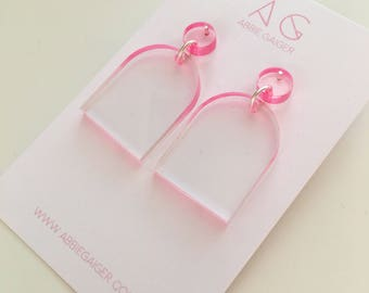 Ombre Pink and Clear Rounded Dangle Stud Earrings  - Bold Laser Cut Hand Dyed Dip Dyed Gradient Acrylic Perspex Geometric Earrings