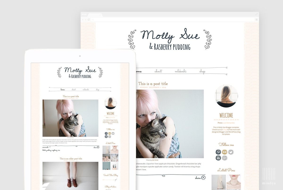 Cute Blogger Template Premade Blogger Design Girly Blog