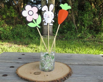 Set of 3 - Easter Bunny, Carrot, and Flower Table Decorations