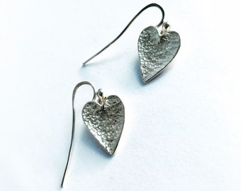 Hand Made Silver Heart Earrings