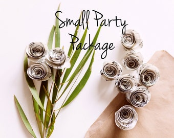 Small Party Package - Ten Large Music Paper Rose Stems & Thirty Small Music Paper Rose Scatter Flowers