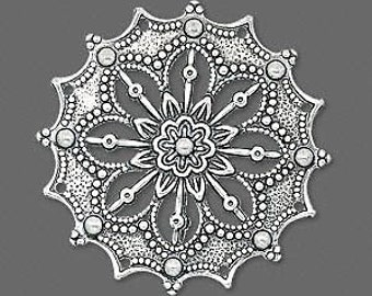 2 large focal components, 34mm filigree silver flower link, steampunk jewelry supply