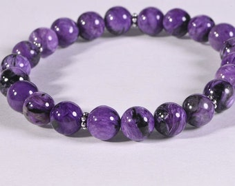 Russian Charoite Bracelet Stretch stacking adjustable Gemstone Bracelets Yoga Gift healing stone bracelets