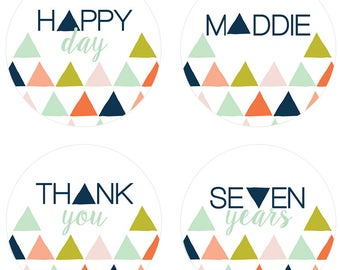 Mod Mountain Party Stickers / Modern Graphic / Print & Ship OR DIY Digital File