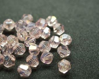 10 BICONES 6 mm Crystal pink AB N29