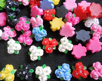 20 pcs Cuterose flower with rhinstone cabochon Flatback mix color