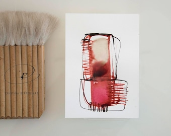 Red stone, abstract art, Ink art drawing, minimal drawing,modern art, geometric art, abstract painting, abstract, modern by Cristina Ripper