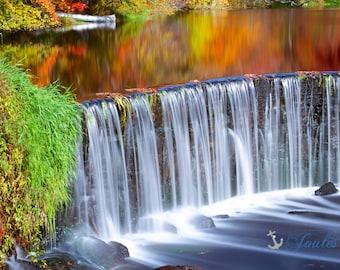 Cascade ~ Shannock Falls, Rhode Island, Waterfall, Autumn Photography, Fall Foliage, Long Exposure, Wall Art, New England Artwork, Decor