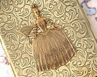 Woman's Cigarette Case Gothic Victorian Steampunk Case Marie Antoinette Antiqued Gold Brass Tone Oversized Card Case