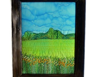 Embroidery painting Fiber Art Wall hanging Framed textile Home decorations Gift for her