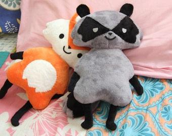 Cute Sleepy Raccoon Plush Toy Doll  - Woodland Creature Series