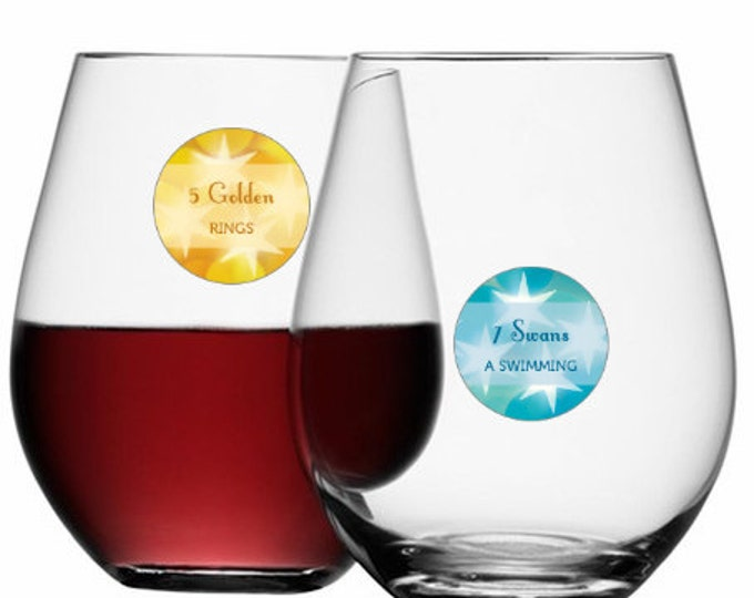 Christmas Wine Charms, 12 Days Of Christmas Disposable Glass Dots - Glass Not included, 12 pack