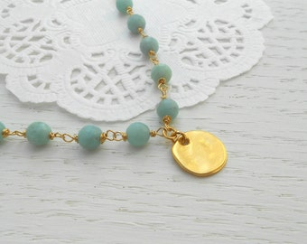 Amazonite necklace, Gold coin necklace, Amazonite jewelry
