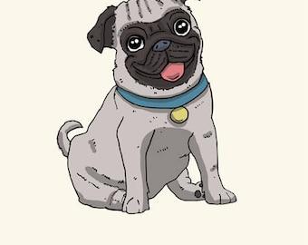 Pug Greetings card: Happy Birthday