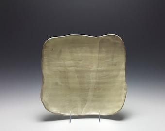 Handmade ceramic platter by Potteryi. Squared serving platter with satiny celadon glaze.