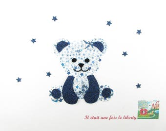 Applique bear fusing liberty Adelajda blue and Navy blue glitter flex patch iron on fusible pattern liberty bear patch
