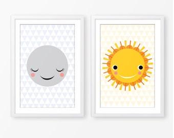 Sun and Moon children's illustration,kids poster,nursery wall art,nursery decor,kids room decor,scandinavian style,instant download,digital