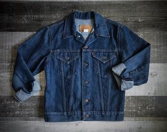 Levi's Vintage Trucker Jacket 70s Levis Boho Jean Jacket 1970's 1980's Dark Blue Denim Levis Jacket Coat Men's Women's Size XS X-Small RARE