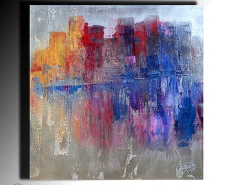 Acrylic Abstract Painting Metallic Painting Original Palette Knife Painting Fine Art on Canvas Acrylic Thick Texture Ready to Hang