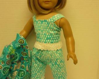 Robe de flanelle et pyjamas - convient à American Girl poupées Sweet Dreams