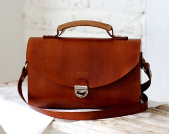 Leather handbag SATCHEL BROWN