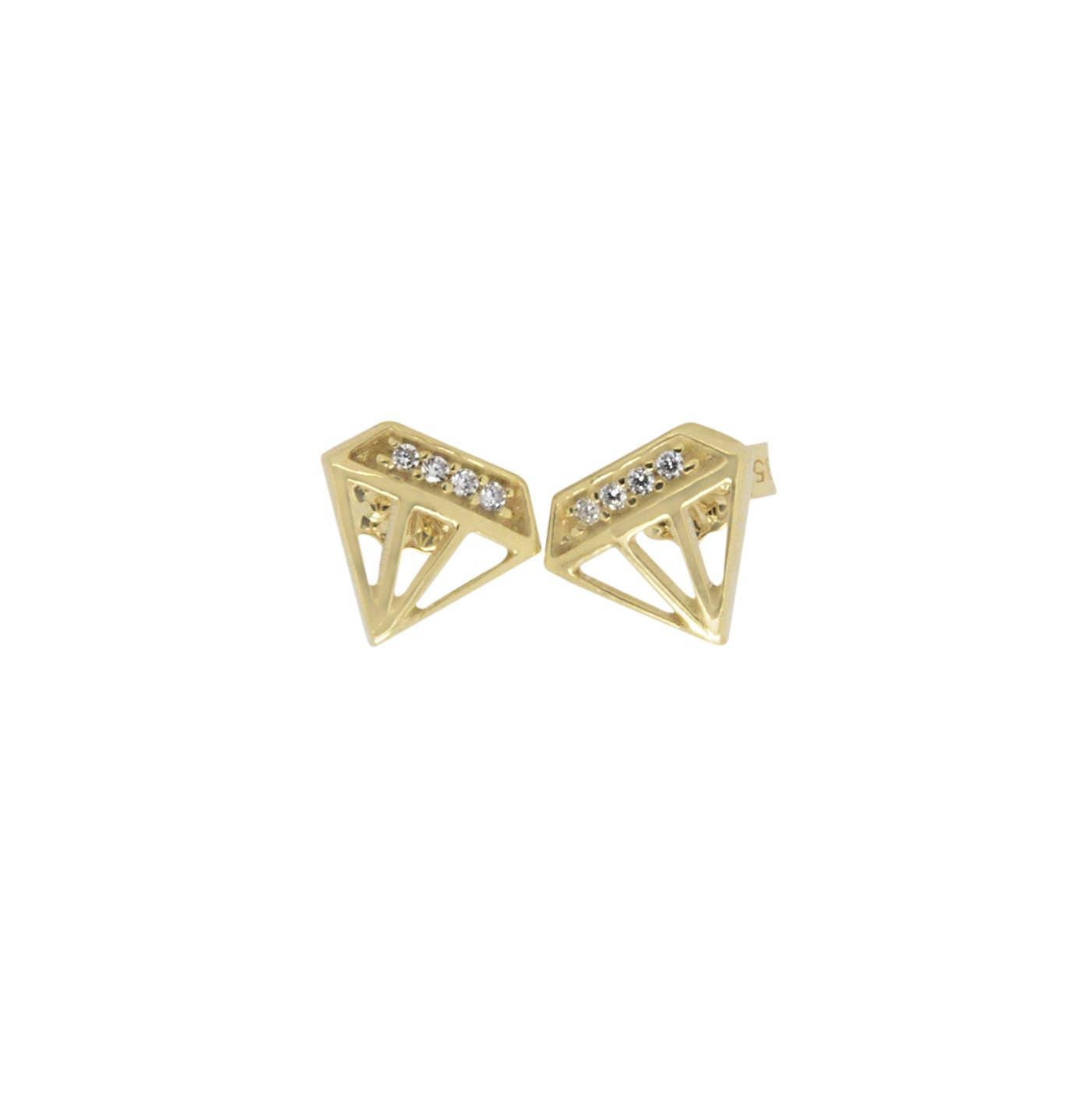 Diamond Shape Earrings, Solid Gold Earrings, Gold Diamond, Dainty ...