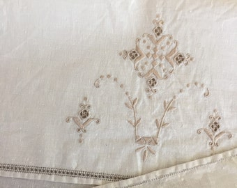 Vintage Linen Hand Embroidered Cloth, Doily, Bread Cloth, Table Topper, Ecru Wedding