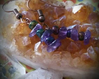 Amethyst beaded earrings
