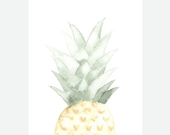 Watercolor pineapple-8x10 Art Print