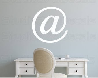 Vinyl @ Sign Wall Decal - Computer Phrase - At Symbol - Techie - Love Nerds - Geeky Decals - Geekery - Office Decor - 22in