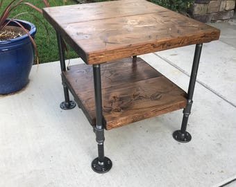 Industrial Table Nightstand Steampunk Decor Rustic Pipe