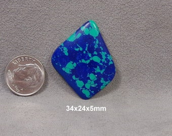 Reconstructed Azurite and Malachite Cabochon