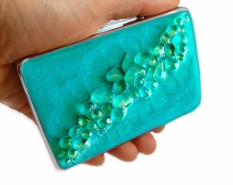 Recycled Glass Cigarette Case Inlaid in Hand PaintedTurquoise Enamel Large Metal Wallet with Personalized and Color Options