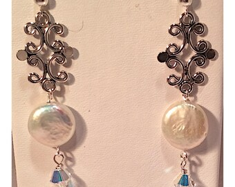 Wedding Freshwater Coin Pearl Earrings