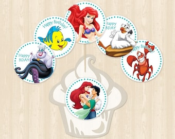 Little Mermaids Cupcake Toppers