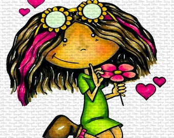 IMAGe #155 - PEGGY IS IN love - Digital Stamp by sasayaki Glitter - Naz -Line art only, black and white