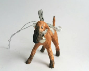 Whippet Figur, Watte Figur, Watte Ornament, Windhund Kunst, Windhund Figur, Künstler Figur, Original Kunst, Vintage Style Ornament