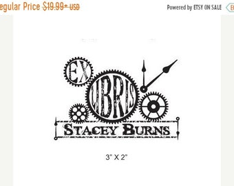 Mothers Day Sale Steam Punk Clock Gears Collage  Ex Libris Personalized Rubber Stamp I05