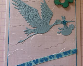 "handmade ""Congratulations"" baby boy card"