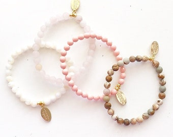 "6mm ""Jill"" Stone Beaded Stretchy Bracelets"