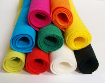 "Wool Felt Blend Playground Collection of 9 Colors Sheet Size is 9"" x 12"""