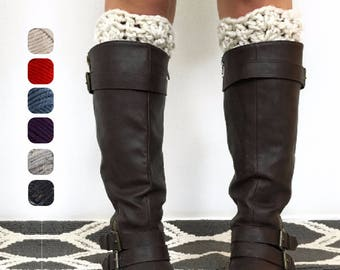 Chunky Boot Cuffs - Chunky Reversible Boot Cuffs - Boot Toppers - Custom Boot Cuffs - Boot Socks - Stocking Stuffers - Gifts Under 20