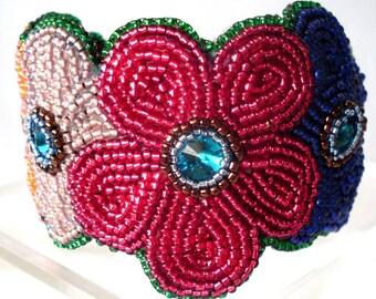 Bohemian Love Bead embroidery cuff OOAK
