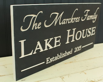 Lake House Decor - Lake House Sign - Custom Sign - Beach Decor - Nautical Decor - Wood Sign - Family Name Sign