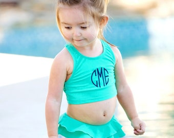 Size 6-6X Girls Mint Swim Set, Personalized Girls Swim Suit