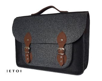 Felt laptop bag, Brown, Black, Graphite felt, black and gray messenger bag, briefcase, laptop case, cross body bag, cutwork,  handbag